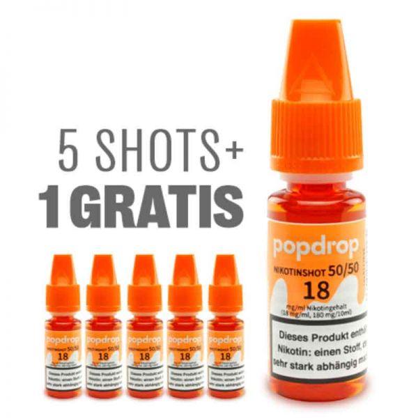 POPDROP Nikotin-Shot 50/50 – 5+1 Gratis Paket