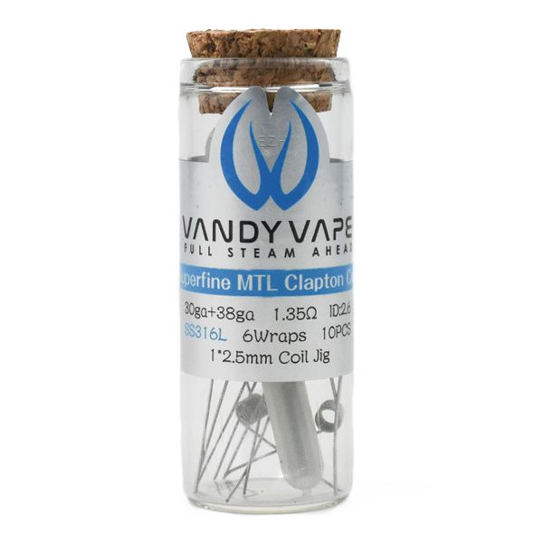 Vandy Vape Prebuilt SS316L Superfine MTL Fused Clapton Coil 30ga/38ga 1.35 Ohm