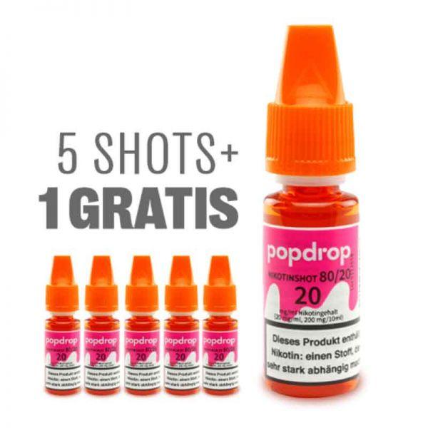 POPDROP Nikotin-Shot 80/20–5+1 Gratis Paket