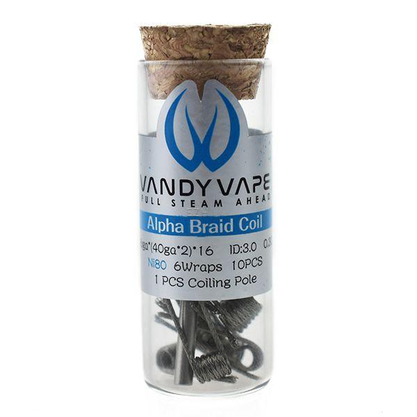 Vandy Vape Prebuilt Ni80 Alpha Braid Coil 26ga*(40ga*2)*16 0.3 Ohm