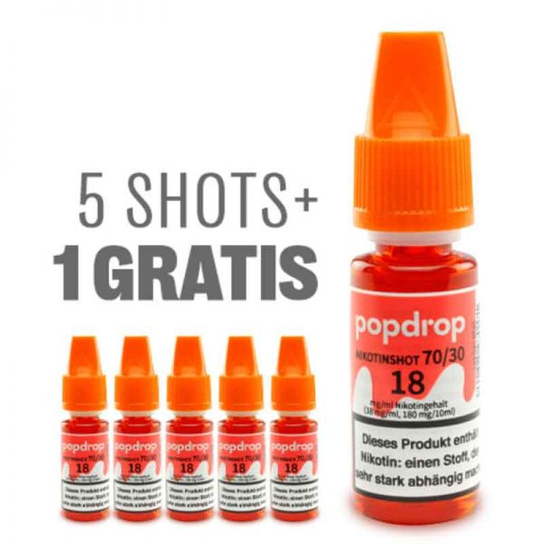 POPDROP Nikotin-Shot 70/30 – 5+1 Gratis Paket